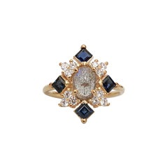 14 Karat Sapphire Oval Labradorite Diamond Ring, Yellow Gold