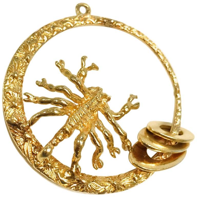 14 Karat Scorpion Pendant For Sale