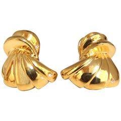 14 Karat Shell Form 3D Clip on Earrings 19 Gram