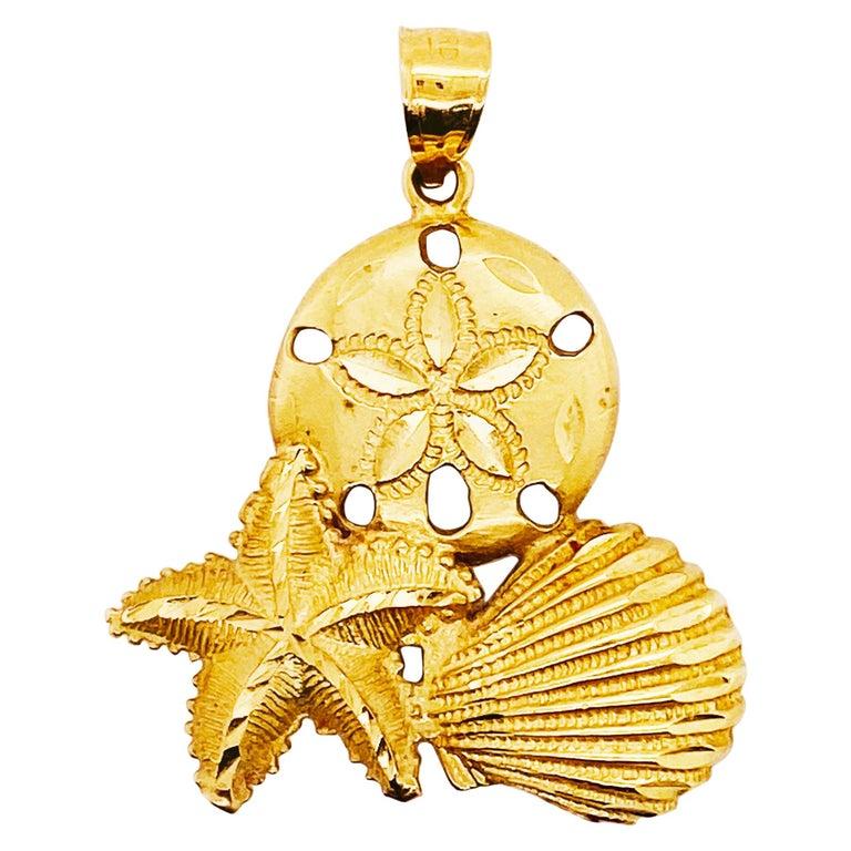 14 Karat Shell Pendant with Beach Design, 14 Karat Gold with Bail, 14 Karat Gold For Sale