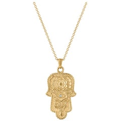 14 Karat Solid Gold, Accent Diamond Hamsa Pendant, on a Solid Gold Chain
