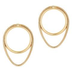 14 Karat Solid Gold Earrings Studs Snake Chain Minimal Greek Earrings
