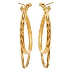 14 Karat Solid Gold Hoops Medium Minimal Round with Snake Chain Greek Earrings