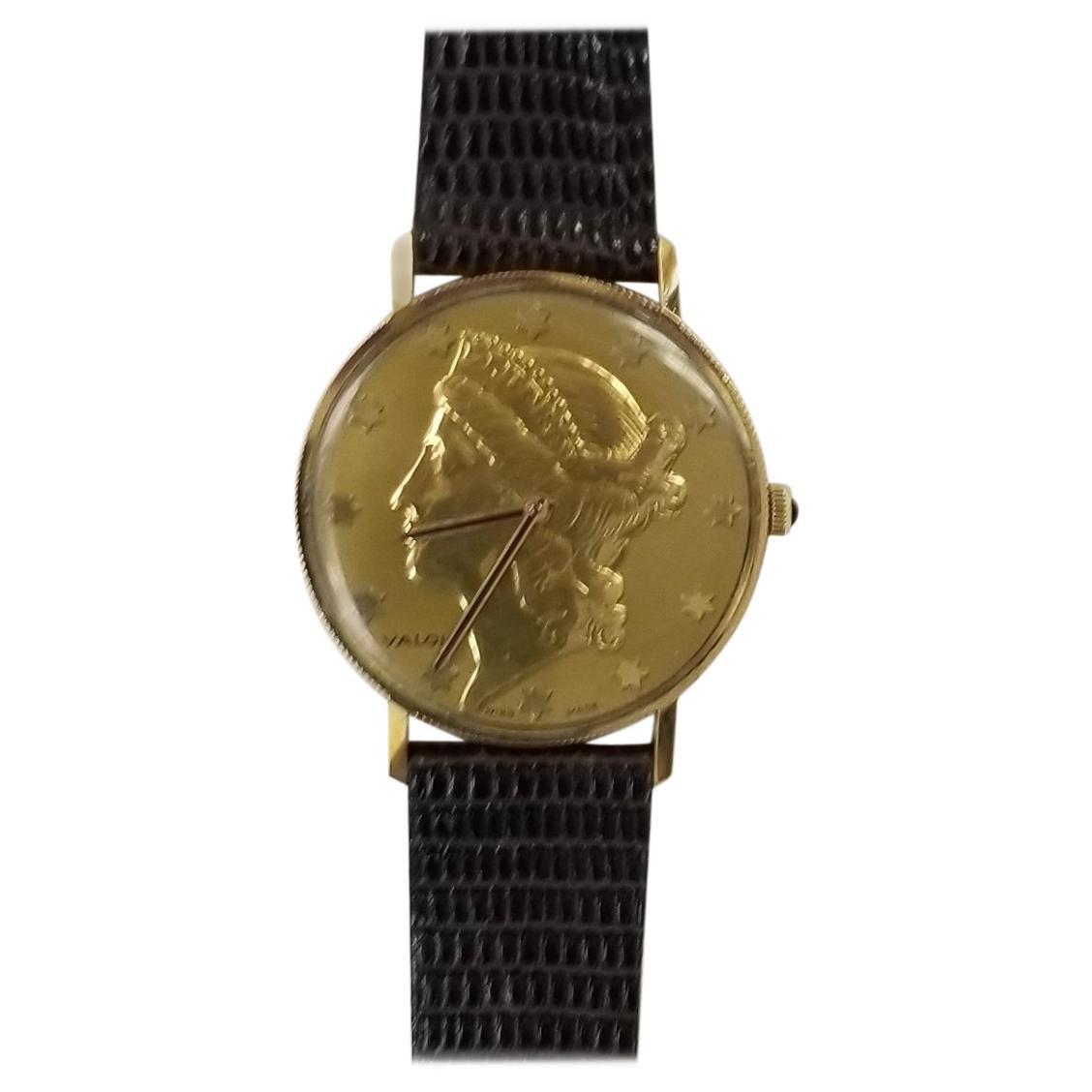"14 Karat Solid Yellow Gold ""Valois"" Liberty Coin Face Watch"