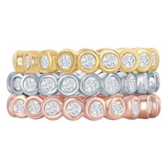 14 Karat Stackable Tricolor Bezel Diamond Rings