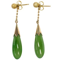 14 Karat Stardust Teardrop Jade Earrings