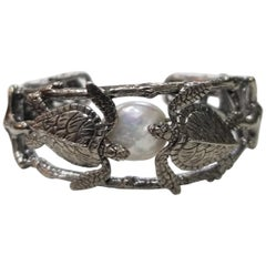 Sterling Silver Gresha Signature Bark, Turtle and Shell with a Pearl