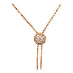 14 Karat Tassel Cluster Diamond Necklace Yellow Gold