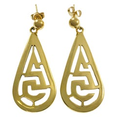 14 Karat Teardrop Greek-Inspired Earrings
