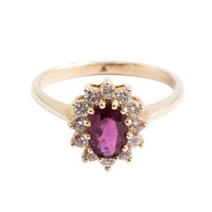 14 Karat Thai Ruby and Diamond Ring