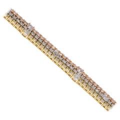 14 Karat Three-Row Diamond Tennis Bracelet White, Yellow and Rose Gold