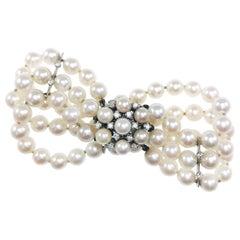 14 Karat Three-Row Pearl Diamond Bracelet
