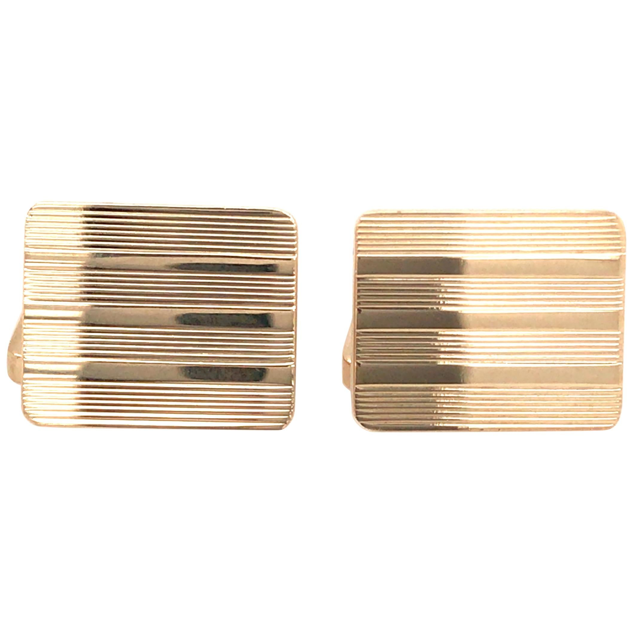14 Karat Tiffany & Co. Rectangular Cufflinks Yellow Gold