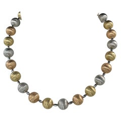 14 Karat Tri-Color Gold Brushed Ball Necklace 40 Grams