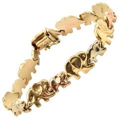 14 Karat Tri-Color Gold Elephant Link Bracelet