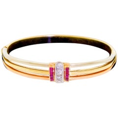 14 Karat Tri Gold Diamond Red Ruby Bangle Bracelet Classic Classy 15.1 Gram