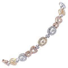 14 Karat Tri Tone Diamond Custom Link Bracelet