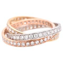 14 Karat Tri-Tone Gold Diamond Interlocked Ring