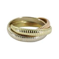 14 Karat Tricolor Gold Rolling Ring