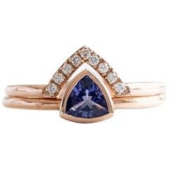 14 Karat Trillion Cut Tanzanite With Diamond Chevron Ring Set