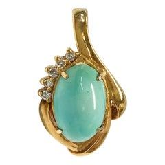 14 Karat Turquoise Diamond Pendant
