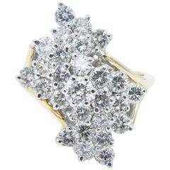 14 Karat Two-Tone 2.50 Carat Cluster Diamond Cocktail Ring