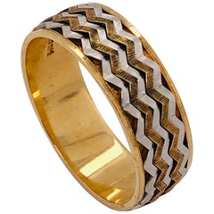 14 Karat Two-Tone Band Ring or Wedding Band