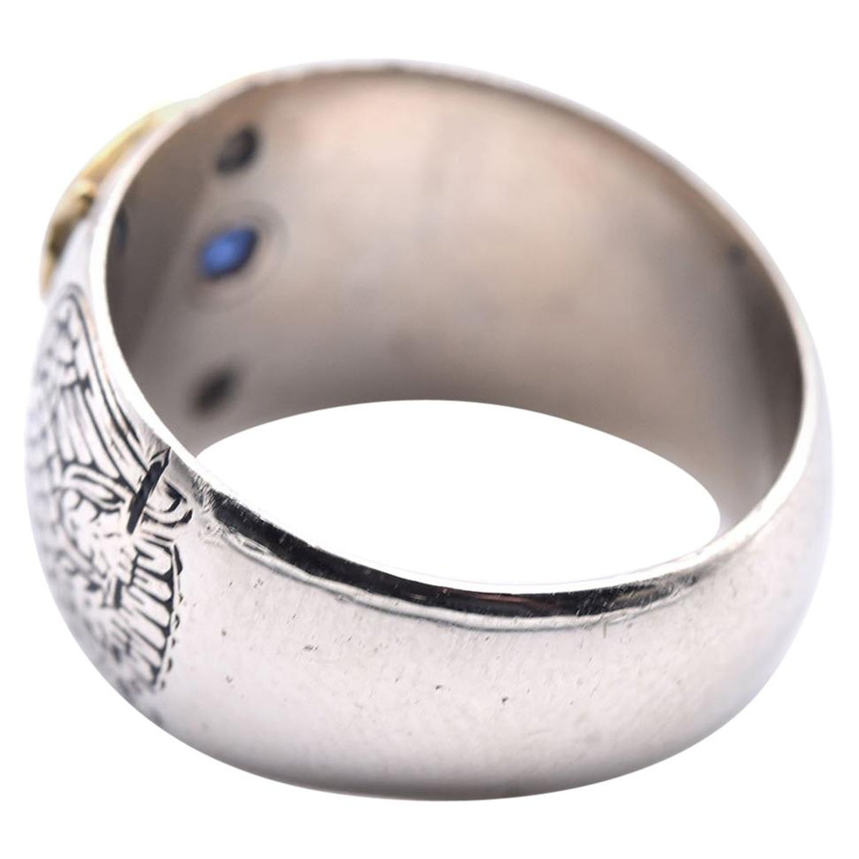 14 Karat Two-Tone Blue Sapphire Masonic Ring