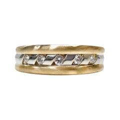 14 Karat Two-Tone Channel Set Diamond Ring