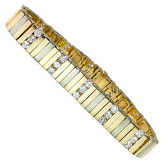 14 Karat Two-Tone Diamond Bar Bracelet
