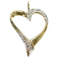 14 Karat Two-Tone Diamond Heart Pendant