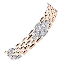 14 Karat Two-Tone Diamond Panther Link Bracelet