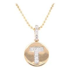 "14 Karat Yellow Gold Diamond ""T"" Disk Necklace"