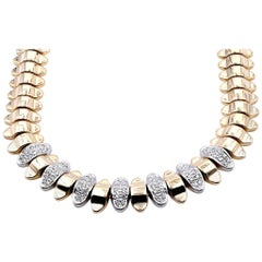 14 Karat Two-Tone Diamond Spine Collar Necklace