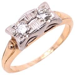 14 Karat Two-Tone Fashion Diamond Ring Engagement