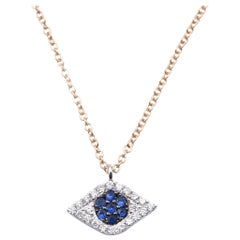 14 Karat Two-Tone Gold Diamond and Sapphire Eye Necklace