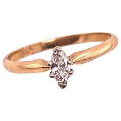 14 Karat Two-Tone Gold Diamond Solitaire Engagement Ring 0.15 TDW