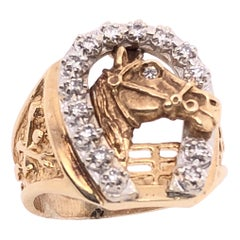 14 Karat Two-Tone Gold Good Luck Horse Shoe and Horse with Diamonds Ring