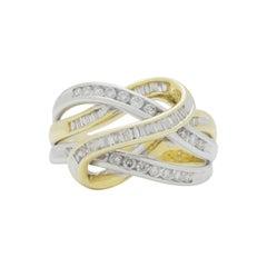14 Karat Two Tone Gold Looping Diamond Ring