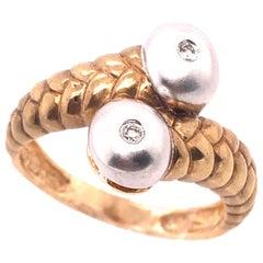 14 Karat Two-Tone Gold Matte Finish Fashion Ring