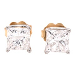 14 Karat Two-Tone Gold Princess Cut Diamond Stud Earrings