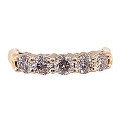 14 Karat Two-Tone Gold Ring with Five Round Diamonds 1 Carat