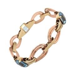 14 Karat Two-Tone Gold Tiffany & Co. Aquamarine Retro Bracelet