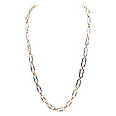 14 Karat Two Tone Paperclip Link Necklace