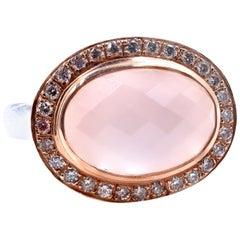 14 Karat Two-Tone Rose Quartz and Diamond Ring