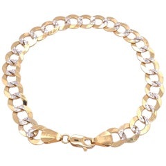 14 Karat Two-Tone White and Yellow Gold Fancy Link Bracelet