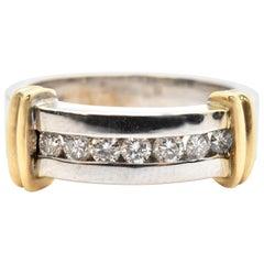 14 Karat Two-Tone White/Yellow Gold and 0.50 Carat Diamond Band Ring