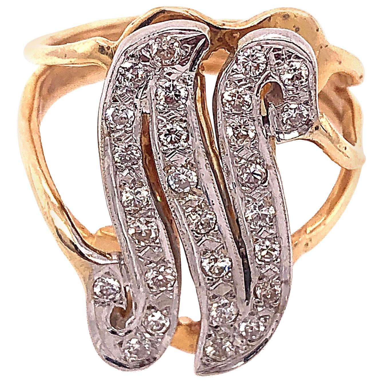 14 Karat Two-Tone Yellow and Gold Diamond Initial N Ring