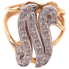 14 Karat Two-Tone Yellow and Gold Diamond Initial N Ring