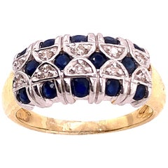 14 Karat Two-Tone Yellow and Gold Sapphire and Diamond Band / Ring